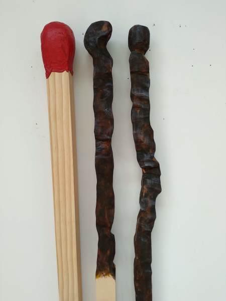 Carved Matchsticks  . Medium Triptych . . (19002)