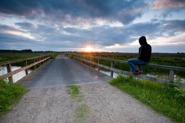 Zonsondergang in polder Lappenvoort