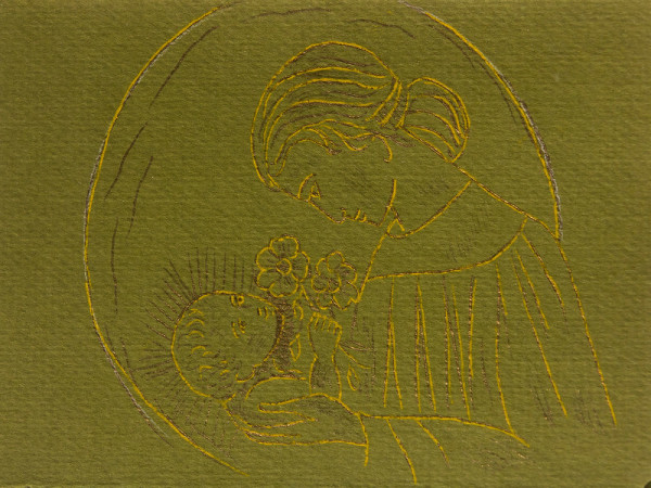 Untitled (Madonna and Child--Gold and Brown Ink on Olive Green Paper)