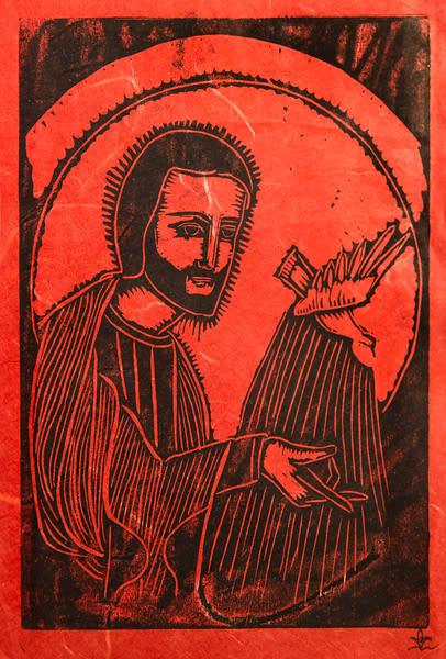 Untitled (Jesus with Bird--Black Ink on Orange-Red Paper)