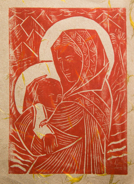 Untitled (Madonna and Child--Dark Red Ink on Tan Paper with Gold Threads)