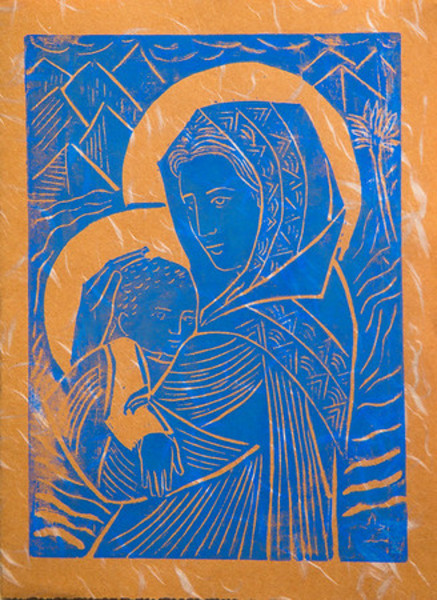 Untitled (Madonna and Child--Bright Blue Ink on Brown Paper)