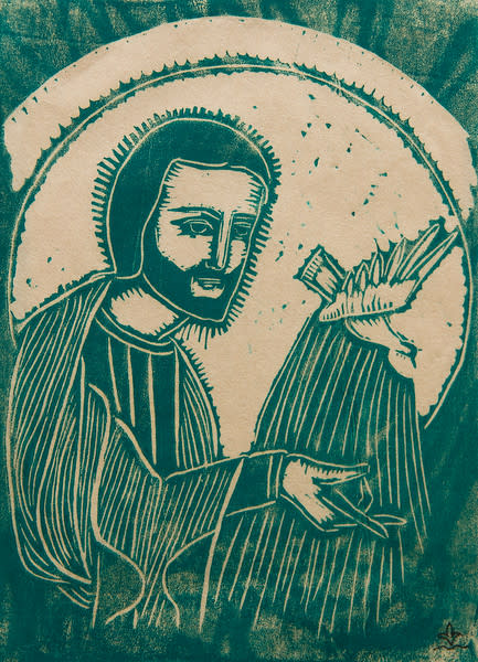 Untitled (Jesus with Bird--Blue-Green Ink on White Paper)