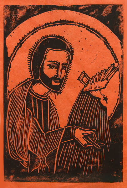 Untitled (Jesus with Bird--Black Ink on Orange Paper)