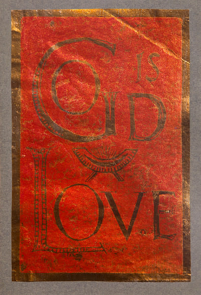 Untitled (God is Love--Red Ink on Metallic Paper)