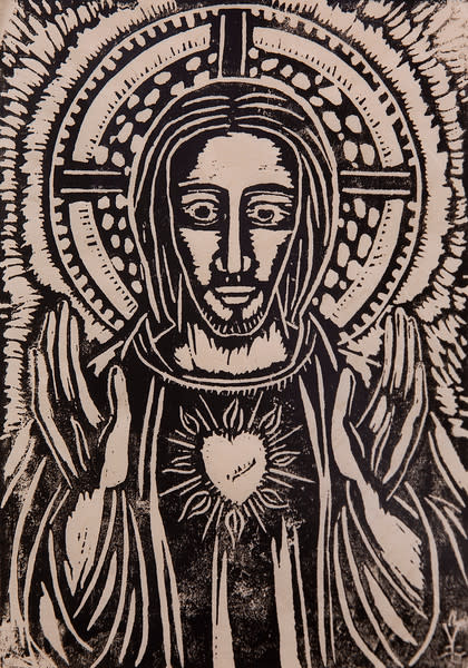 Untitled (Jesus with Heart--Black Ink on White Paper)