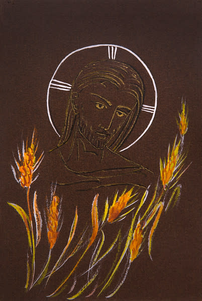 Untitled (Head of Jesus with Wheat Below on Brown Paper)
