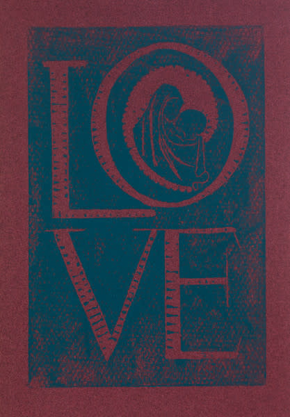 Untitled (Love--Blue ink on Red Paper)