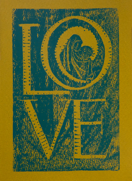 Untitled (Love--Blue ink on Yellow/Green Paper)