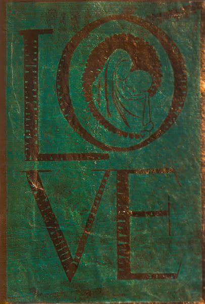 Untitled (Love--Green Ink on Metallic Paper)