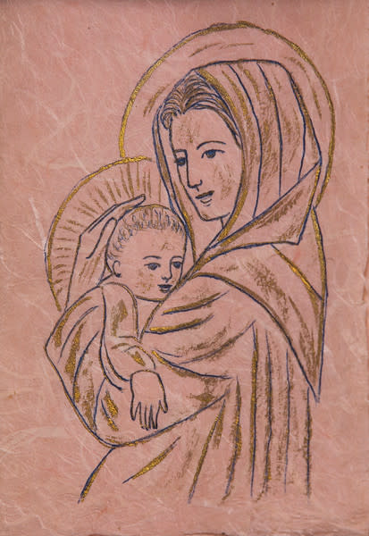 Untitled (Madonna and Child-- Gold and Black Ink on Pink Paper)