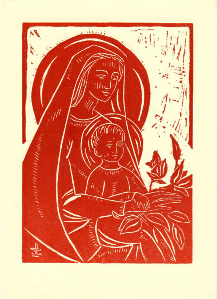 Untitled (Madonna and Child--White Ink on Orange-Red Paper)