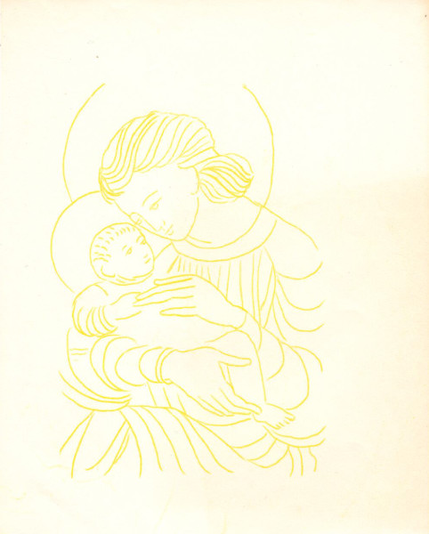 Untitled (Madonna and Child--Yellow Ink on White Paper)