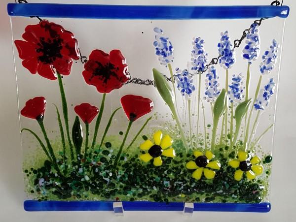 Garden Hanger-Red Poppies, Delphiniums, Yellow Daisies