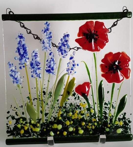 Garden Hanger-Delphiniums & Red Poppies