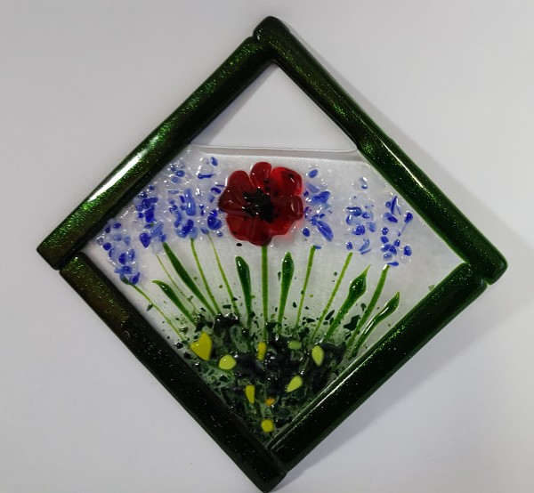 Garden Hanger-Diagonal with Red Poppy and Delphiniums