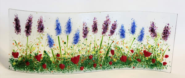 Garden Curve-Lavender, Delphiniums, & Poppies