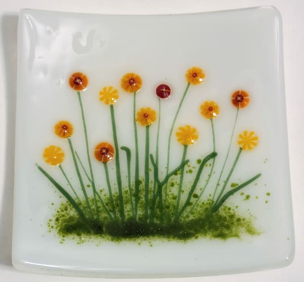 Small Plate with Marigolds