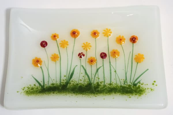 Soap Dish/Spoon Rest with Marigolds