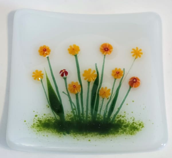 Plate with Marigolds on White