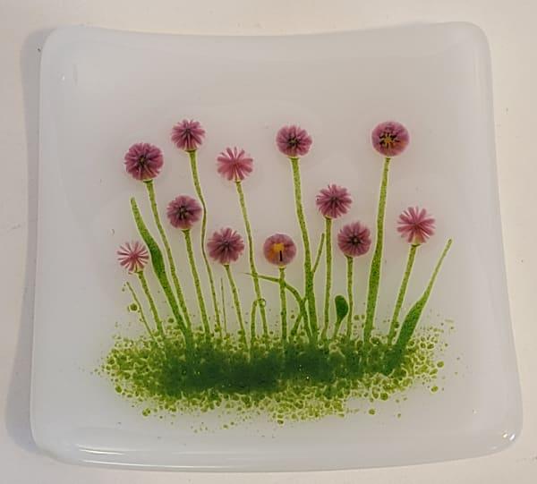 Plate-Purple Flowers on White
