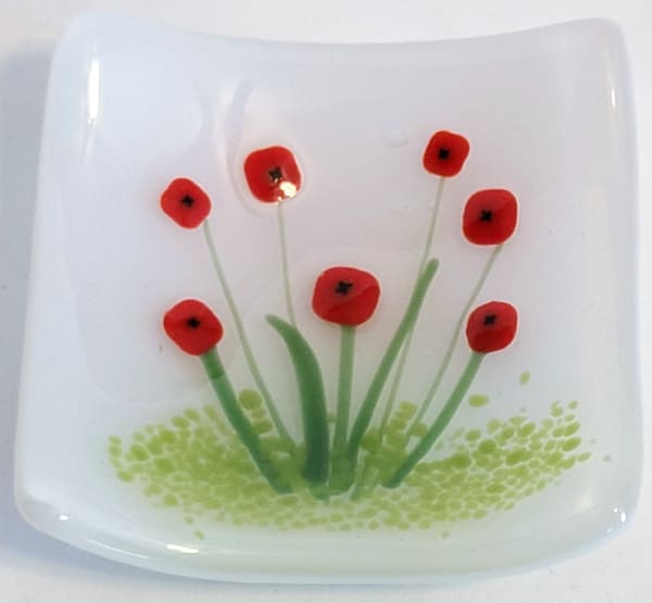 Small Plate-Poppies on White