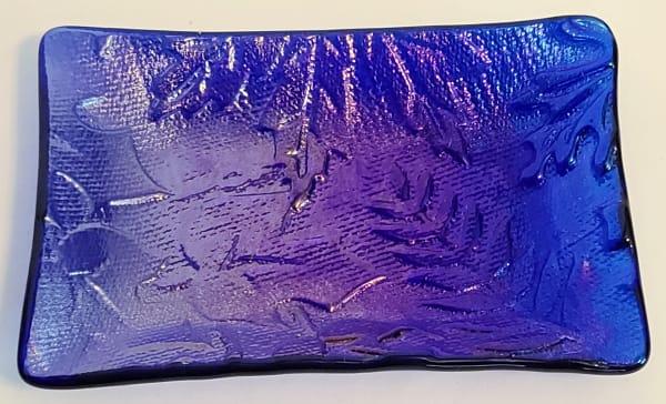 Soap Dish/Spoon Rest-Cobalt Irid with Leaf Impression