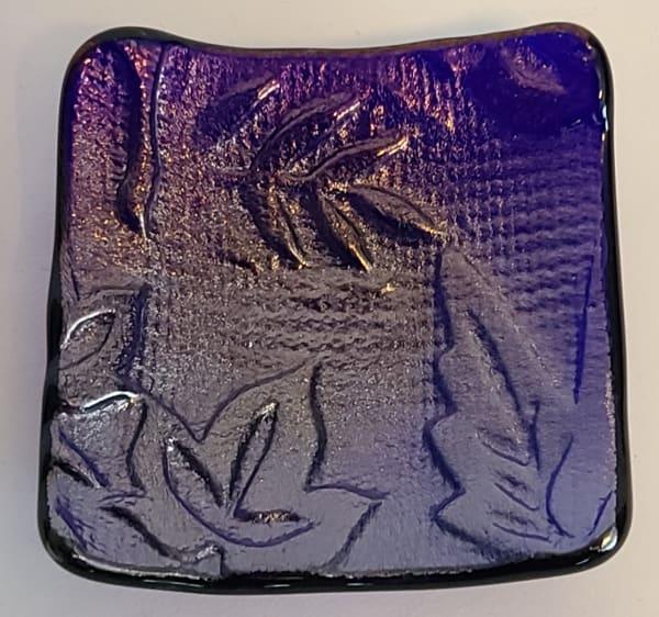 Small Plate-Blue Cobalt Irid with Leaf Impression