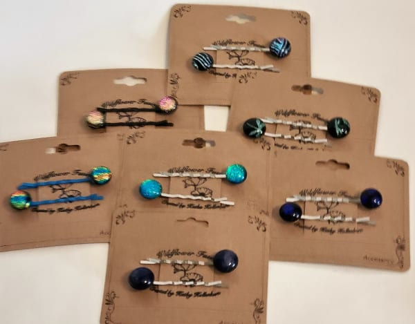Bobby Pins, Set of Two with Dichro Dots, Assorted