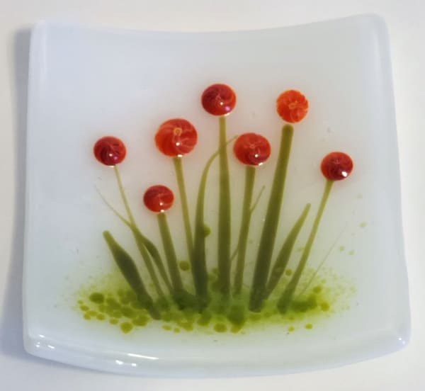 Small Plate-Red/Yellow Flowers on White