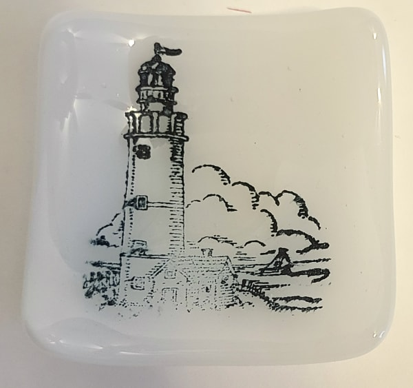 Small Plate with Lighthouse on White