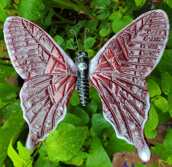 Butterfly Yard Art-Red/White/Black on copper pipe