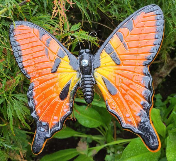 Butterfly Yard Art-Orange/Black on copper pipe