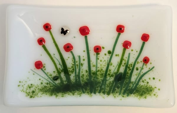 Soap Dish/Spoon Rest with Red Flowers