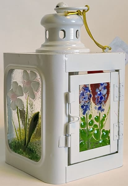 Lantern, Small with Floral Panels, White