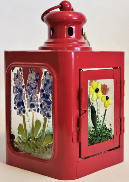 Lantern, Small with Floral Panels, Red