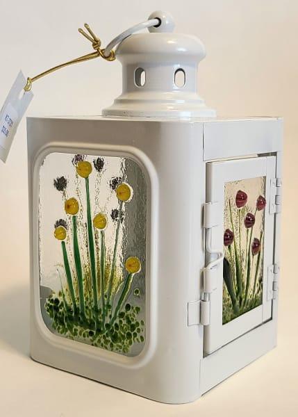 Lantern, Small with Murrini Flowers, White