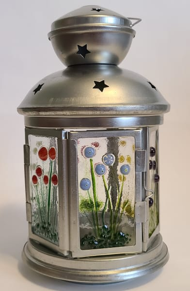 Lantern, Small-6 sided with Murrini Flowers