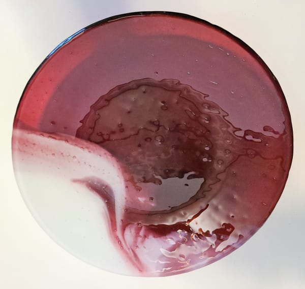 Serving Bowl-Cranberry/White Streaky