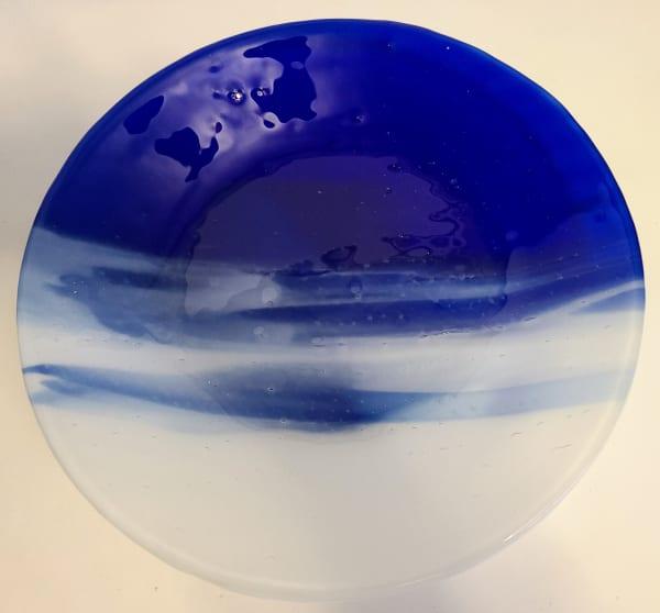 Serving Bowl-Cobalt Blue/White Streaky