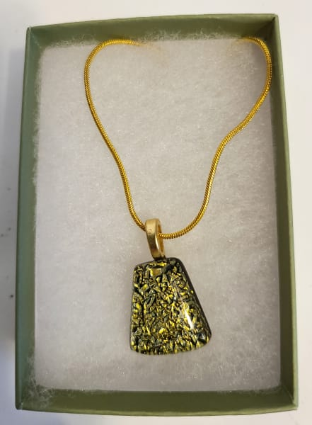 Necklace-Gold/Turquoise Dichroic Crinkle