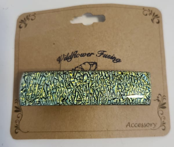 Barrette-Gold/Turquoise Crinkle Dichroic