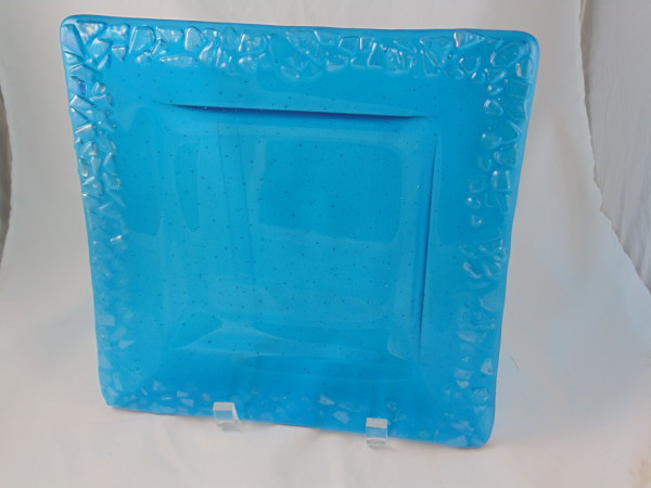 Irid Edged Dish-Turquoise