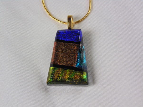 Necklace-Blue, bronze and gold with chain