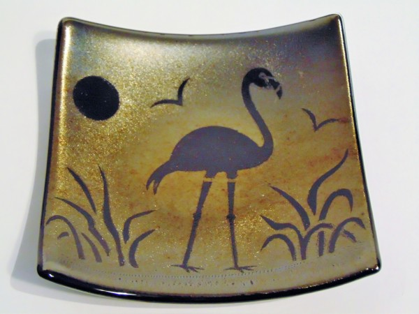Flamingo on Gold Irid