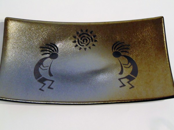 Serving Dish-Kokopellis on Gold Irid