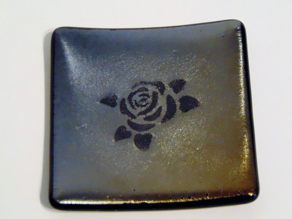 Small dish-Rose on irid silver