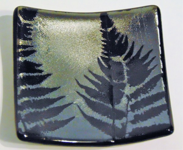 Small Dish-Fern on Silver Irid with crease