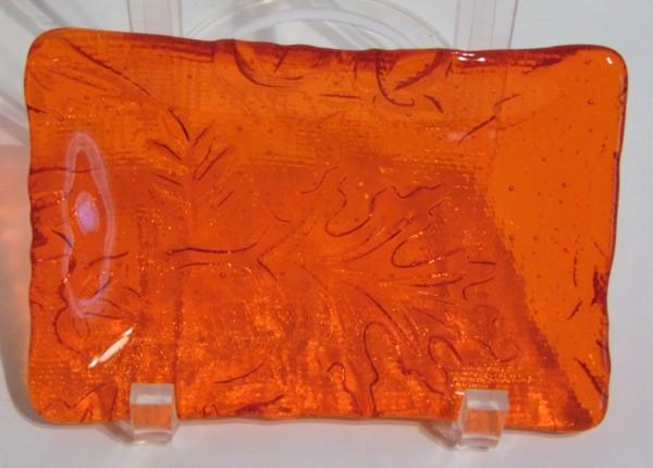 Soap Dish-Orange with Leaf Imprint