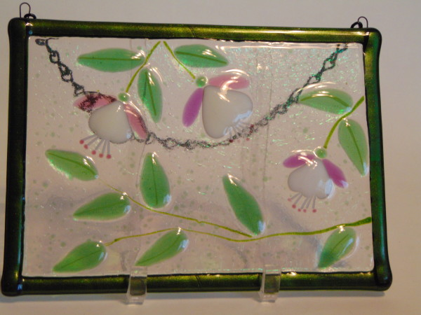 Garden Hanger-Three Fuschias, pink/white